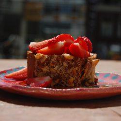 Vanille cake met aardbeien